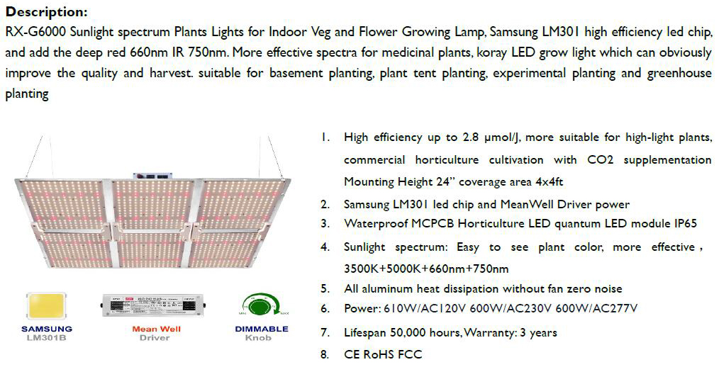 600W Quantum LED Grow Light only 385USD FOB